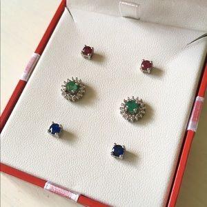 Gemstone Diamond Sterling Silver Stud Earrings Set